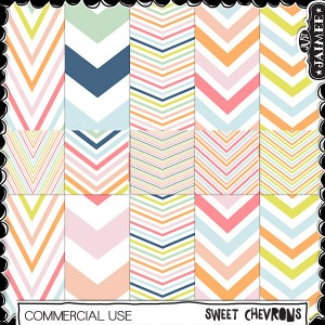 Digital Scrapbooking Commercial Use - Sweet Chevron Patts