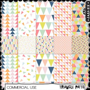 Digital Scrapbooking Commercial Use - Triangle Patts